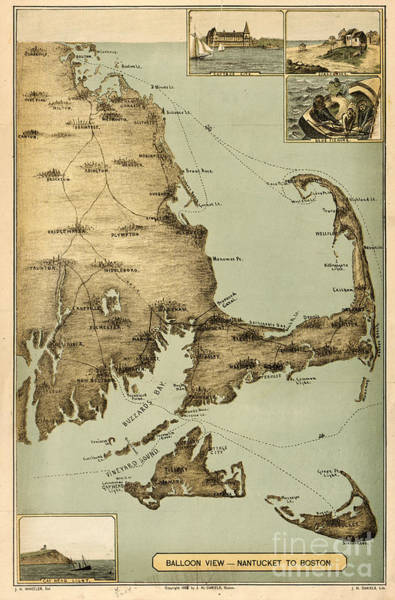 Painting - Balloon View Of Nantucket To Boston by Celestial Images