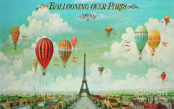 Wall Art - Painting - Ballooning Over Paris, Hot Air Balloon Eiffel Tower by Tina Lavoie