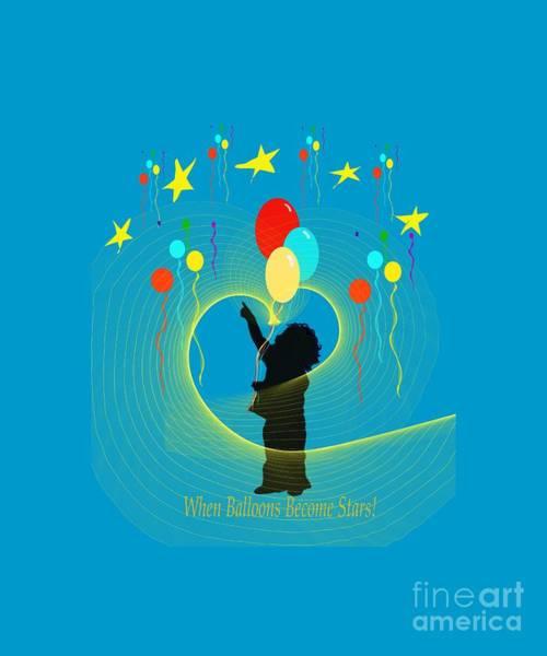 Balloon Festival Digital Art - Balloons Become Stars by Sydne Archambault
