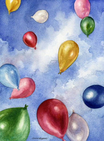 Wall Art - Painting - Balloons In Flight by Anne Gifford