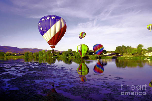 Swan Valley Photograph - Balloons In The Yakima River by Jeff Swan