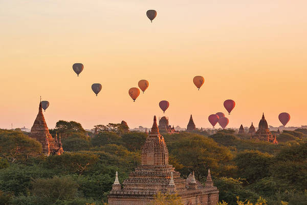 Bagan Photograph - balloons over Bagan - Myanmar by Joana Kruse