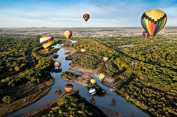 Fiesta Photograph - Balloons Over The Rio Grande by Greg Meland