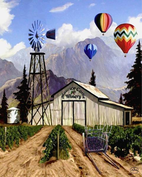 Wagon Wheel Digital Art - Balloons Over The Winery 2 by Ron Chambers