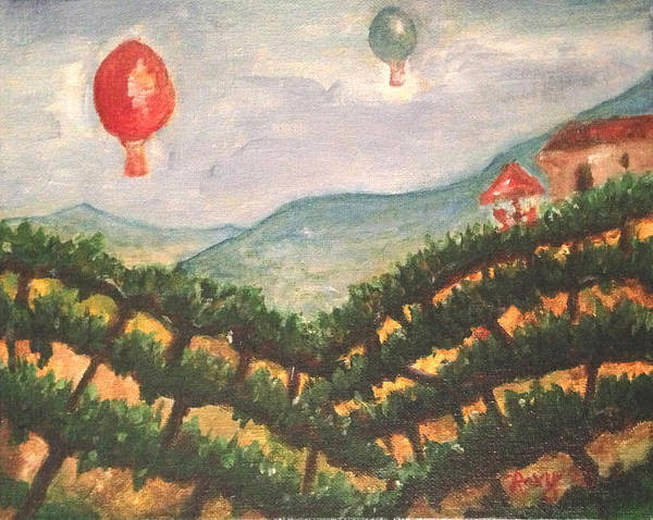 Landscape Painting - Balloons Over Wine Country by Roxy Rich