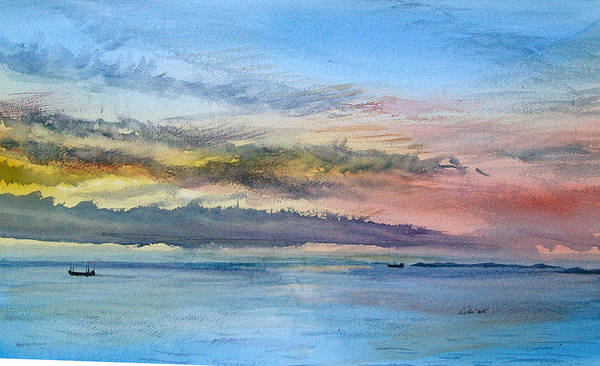 Baltic Sea Painting - Baltic Dawn Off Russia by Howard Luke Lucas