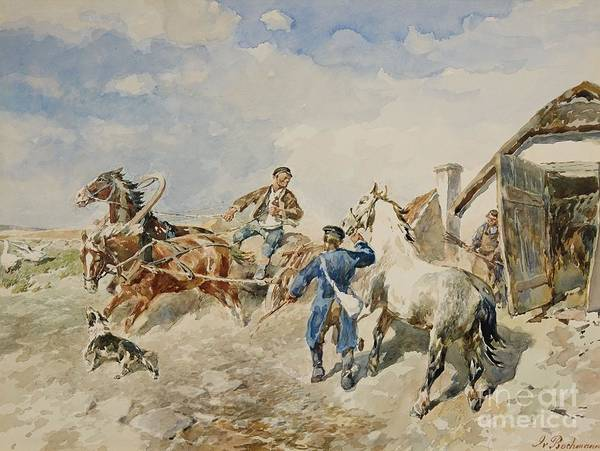 Farmstead Painting - Baltic Farmstead And A Horse And Cart by MotionAge Designs