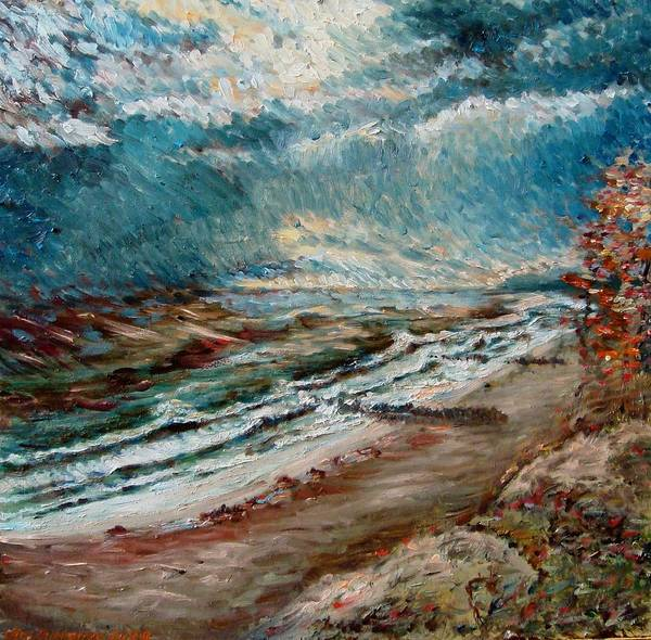 Baltic Sea Painting - Baltic Sea November Storm by Alexander Bukhanov