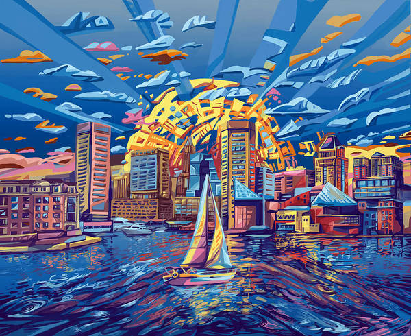 Pop Surrealism Painting - Baltimore City Skyline by Bekim Art