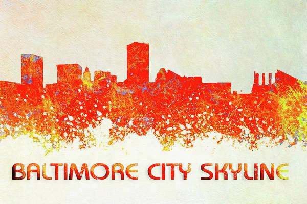 Digital Art - Baltimore City Skyline by Reynaldo Williams