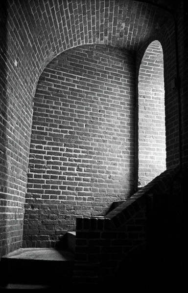 Photograph - Baltimore - Dark Brick Passageway 2003 Bw by Frank Romeo