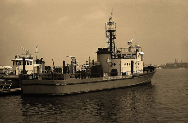 Photograph - Baltimore Fire Boat Sepia 2003 by Frank Romeo