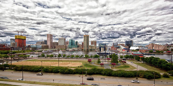 Photograph - Baltimore Inner Harbor Dramatic Clouds Panorama by Bill Swartwout Photography