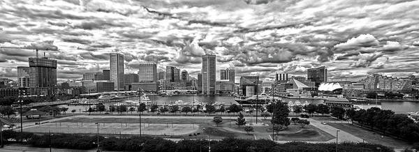 Photograph - Baltimore Inner Harbor Dramatic Clouds Panorama In Black And White by Bill Swartwout Photography