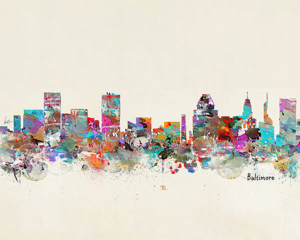 Maryland Wall Art - Painting - Baltimore Maryland Cityscape by Bri Buckley