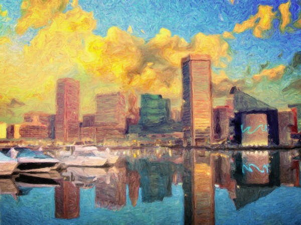 Wall Art - Painting - Baltimore Maryland Skyline by Zapista Zapista