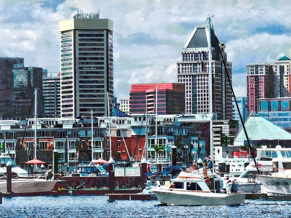 Photograph - Baltimore Md - Baltimore Skyline Near Charles River by Susan Savad