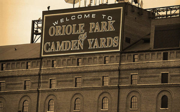 Buy Photograph - Baltimore Orioles Park At Camden Yards Sepia by Frank Romeo