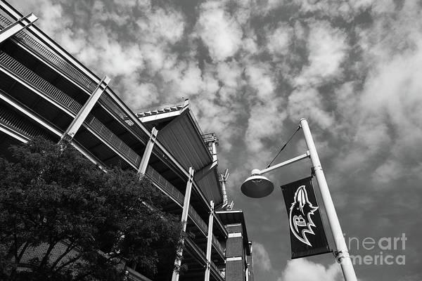 Photograph - Baltimore Ravens Nfl Stadium Black And White by James Brunker