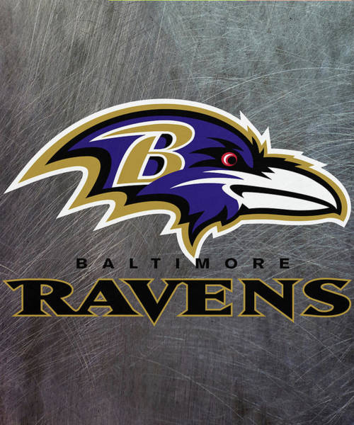 Mixed Media - Baltimore Ravens On An Abraded Steel Texture by Movie Poster Prints