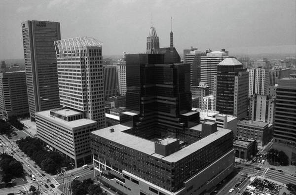Photograph - Baltimore Skyline 2003 Bw by Frank Romeo