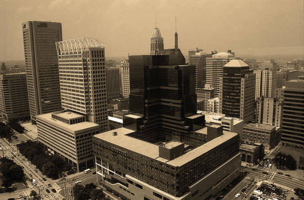 Photograph - Baltimore Skyline 2003 Sepia by Frank Romeo