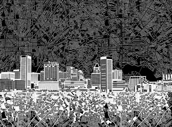 Monochromatic Painting - Baltimore Skyline Abstract 12 by Bekim Art