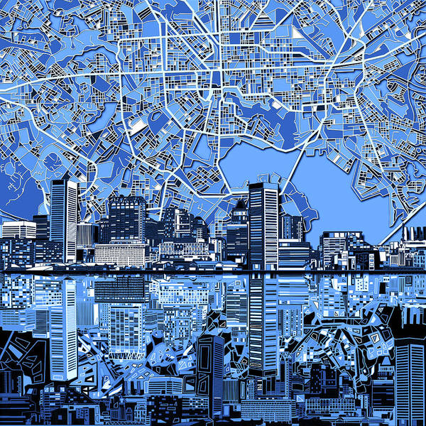 Monochromatic Painting - Baltimore Skyline Abstract 6 by Bekim Art