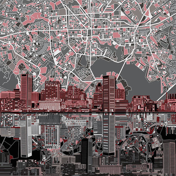 Monochromatic Painting - Baltimore Skyline Abstract by Bekim Art