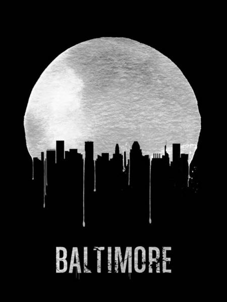 Dreamy Wall Art - Painting - Baltimore Skyline Black by Naxart Studio