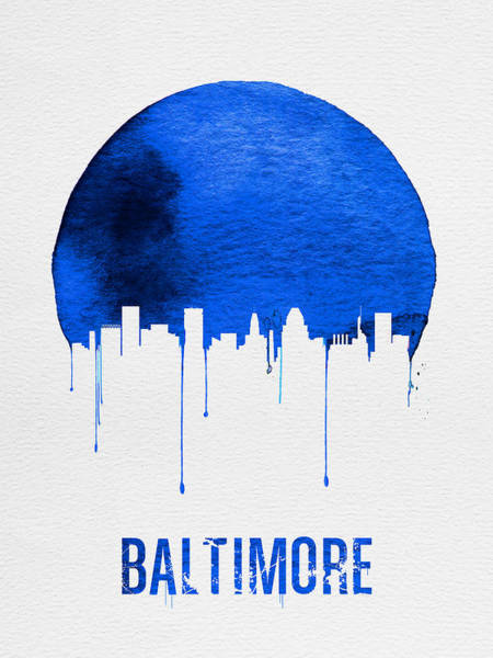 Wall Art - Painting - Baltimore Skyline Blue by Naxart Studio
