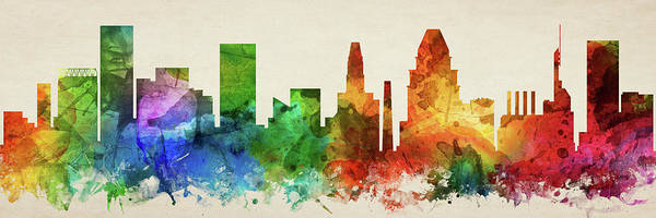Wall Art - Digital Art - Baltimore Skyline Panorama Usmdba-pa03 by Aged Pixel