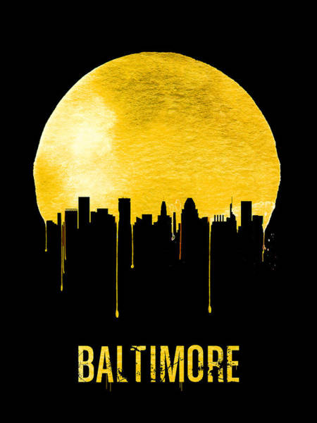 Wall Art - Painting - Baltimore Skyline Yellow by Naxart Studio