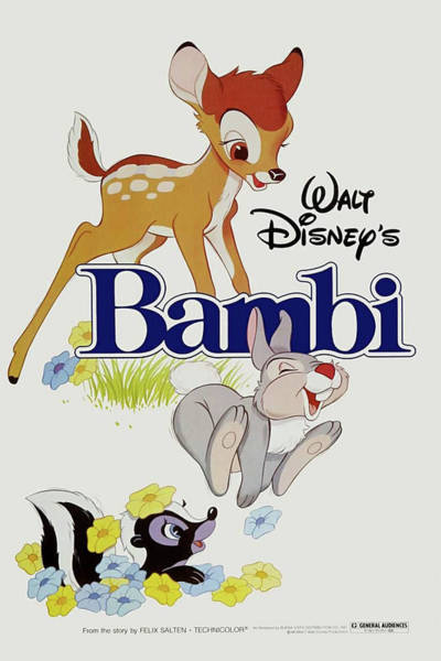 Mixed Media - Bambi 1942 by Movie Poster Prints