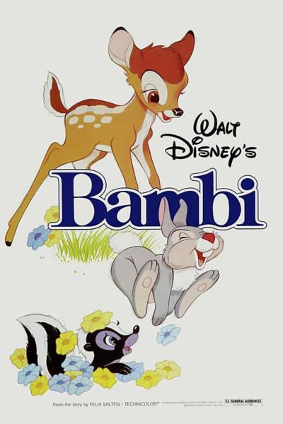 Bambi Mixed Media - Bambi 1942 by Movie Poster Prints