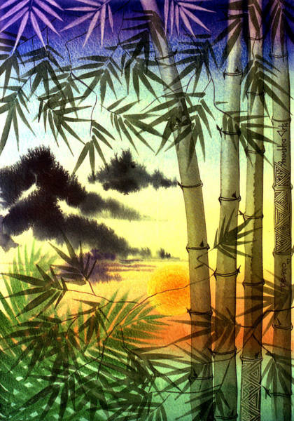 Wall Art - Painting - Bamboo At Sunset by Jennifer Baird