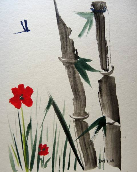 Wall Art - Painting - Bamboo by Chrissey Dittus