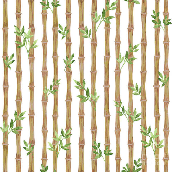 Bamboo Painting - Bamboo With Leaves-jp3967 by Jean Plout