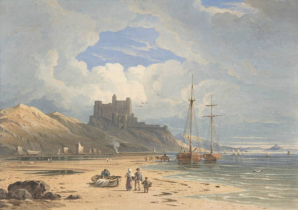 Wall Art - Drawing - Bamborough Castle From The Northeast, With Holy Island In The Distance, Northumberland by John Varley