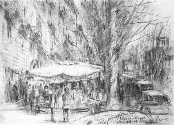 Rome Painting - Bancarelle In Via Nomentana Rome by Ylli Haruni