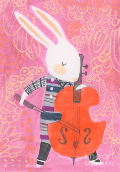 Bunny Wall Art - Painting - Cello Band Geek by Kate Cosgrove
