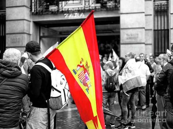 Photograph - Bandera De Espana Barcelona by John Rizzuto