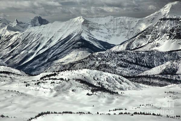 Photograph - Banff Sunshine Snowy Mountain Peaks by Adam Jewell