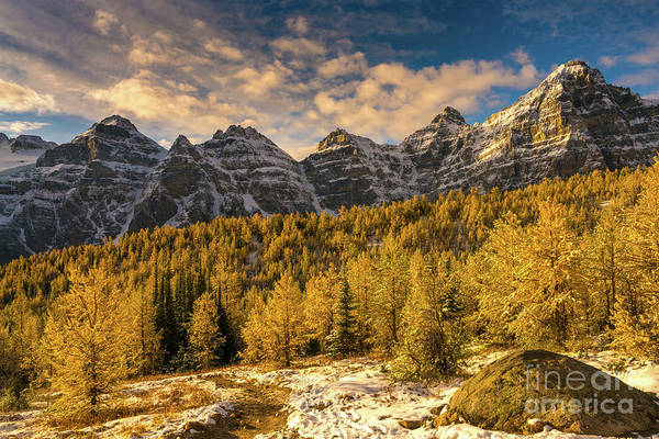 Wall Art - Photograph - Banff Ten Peaks Fall Golden Landscape by Mike Reid