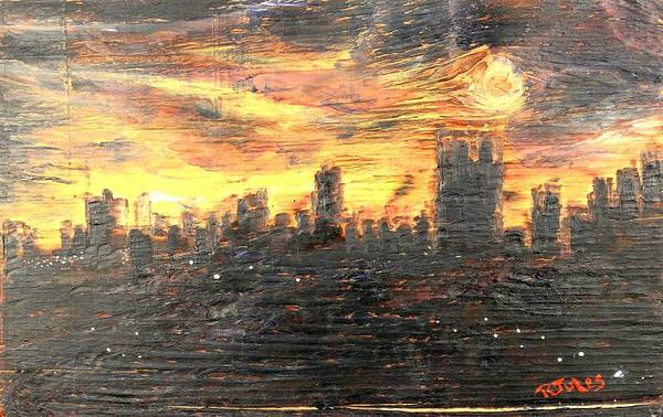 Painting - Bangkok City Sunset Glow by Richard Jules
