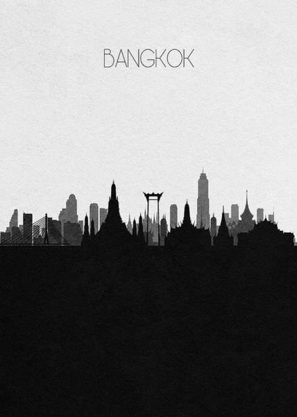 Souvenir Digital Art - Bangkok Cityscape Art by Inspirowl Design