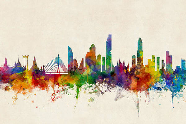 Wall Art - Digital Art - Bangkok Thailand Skyline by Michael Tompsett