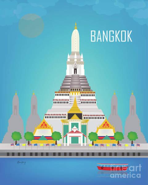 Wall Art - Digital Art - Bangkok Thailand Vertical Scene by Karen Young