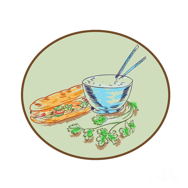 Fill Digital Art - Banh Mi Sandwich And Rice Bowl Drawing by Aloysius Patrimonio