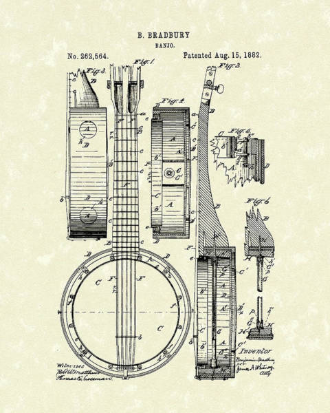 Drawing - Banjo 1882 Patent Art by Prior Art Design